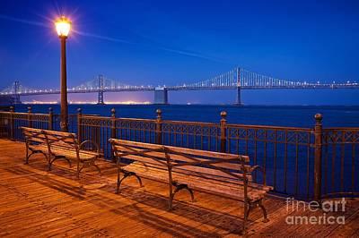 San Francisco Embarcadero Photograph - The Bay Bridge In San Francisco Seen From Pier 5 by Mel Ashar