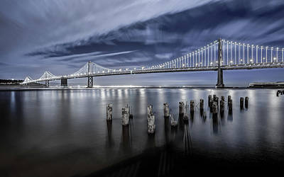 California Seascape Photograph - The Bay Bridge Lights San Francisco by Toby Harriman