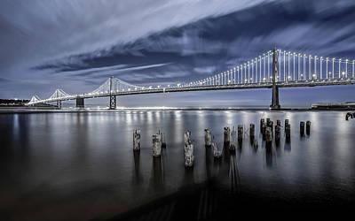 The Bay Bridge Lights San Francisco Art Print