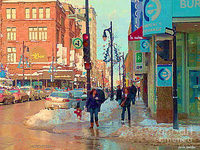The Bay Department Store Downtown Montreal University And St Catherine Winter City Scene C Spandau  Art Print by Carole Spandau