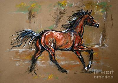 The Bay Horse Art Print by Angel  Tarantella