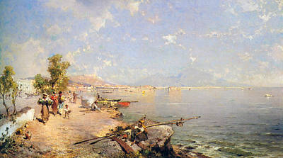 Tuscan Digital Art - The Bay Of Naples by Franz Richard Unterberger