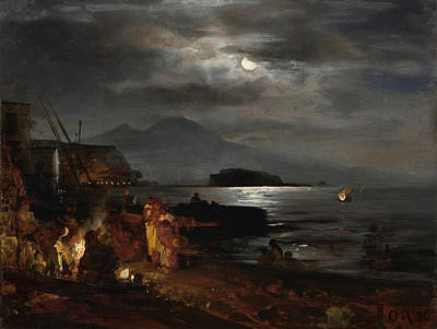Sea Moon Full Moon Painting - The Bay Of Naples In The Moonlight  by Celestial Images
