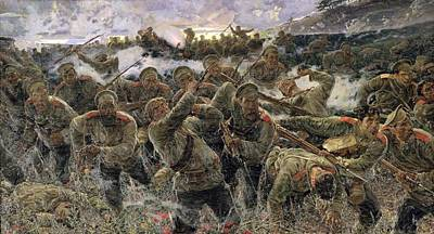 The Bayonet Fighting, 1904 Oil On Canvas Art Print by Pyotr Pavlovich Karyagin