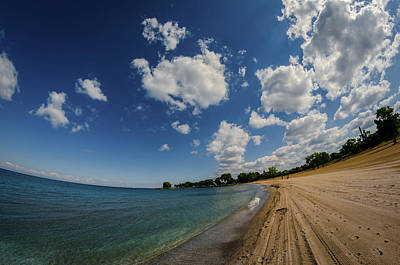 The Beach At Edgwater Park Print by Michael Demagall