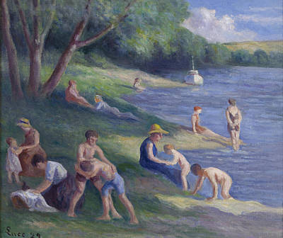 Luce Painting - The Beach At Mericourt by Maximilien Luce