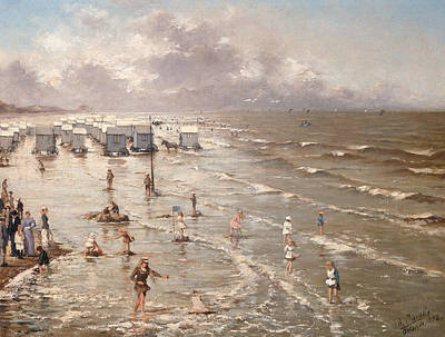 People On Beach Wall Art - Painting - The Beach At Ostend by Adolphe Jacobs