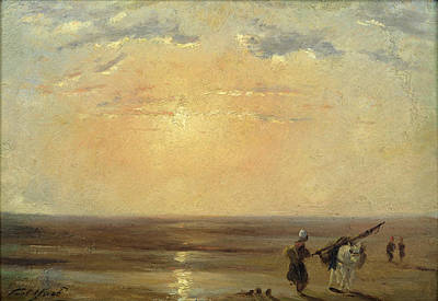 Calvados Painting - The Beach At Trouville With Setting Sun by Paul Huet