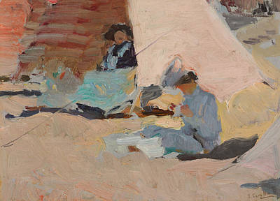 The Beach  Biarritz Art Print by Joaquin Sorolla y Bastida