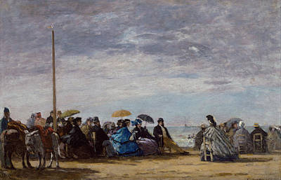 Famous Horse Art Painting - The Beach by Eugene Boudin