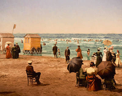 Horse And Buggy Painting - The Beach by John K Woodruff