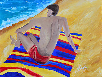 Painting - The Beach Towel by Donna Blackhall