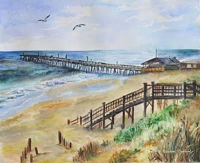 Nag Painting - Nags Head Fishing Pier by Valentina Copeland