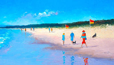 Beach Cabin Painting - The Beach Walkers by Jan Matson