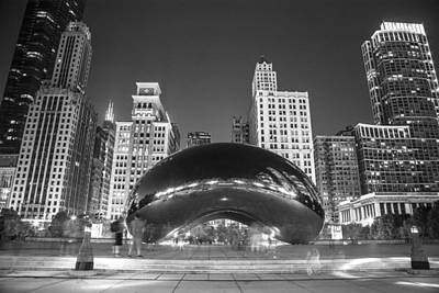 Photograph - The Bean In Chicago In Black And White by John McGraw