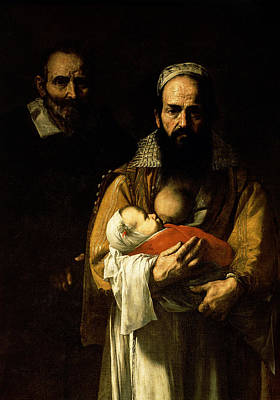 Shawl Painting - The Bearded Woman Breastfeeding, 1631 by Jusepe de Ribera
