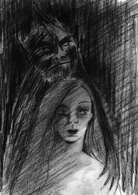 Beauty And The Beast Drawing - The Beast Appeared by Nina Shilling