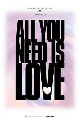Digital Art - The Beatles - All You Need Is Love by David Davies