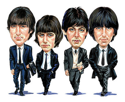 Comical Painting - The Beatles by Art