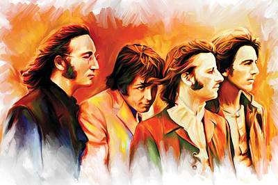 Rock And Roll Mixed Media - The Beatles Artwork by Sheraz A