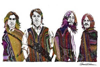 British Invasion Drawing - The Beatles - Icons Final Cover by Jerrett Dornbusch