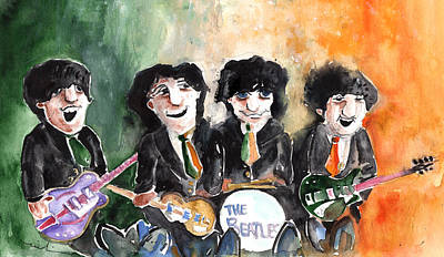 George Harrison Art Drawing - The Beatles In Ireland by Miki De Goodaboom