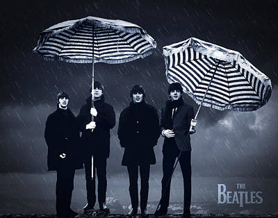 The Beatles Digital Art - The Beatles In The Rain by Aged Pixel