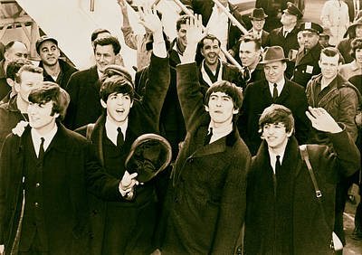 Mccartney Photograph - The Beatles Land In America - 1964 by Mountain Dreams