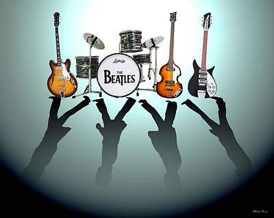 Black Digital Art - The Beatles by Lena Day