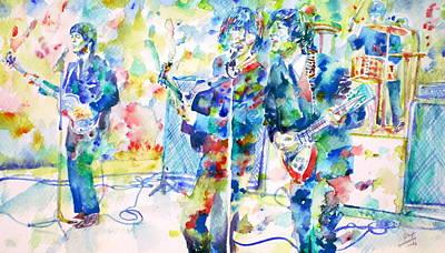 Paul Mccartney Portrait Painting - The Beatles Live Concert - Watercolor Portrait by Fabrizio Cassetta