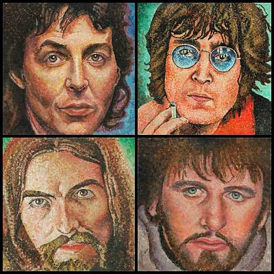 The Beatles Quad Art Print by Melinda Saminski