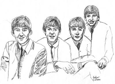 Fab Four Drawing - The Beatles  by Rodger Larson