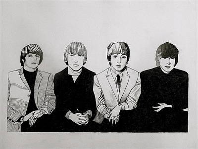 Fab Four Drawing - The Beatles Study  by Maria Espach