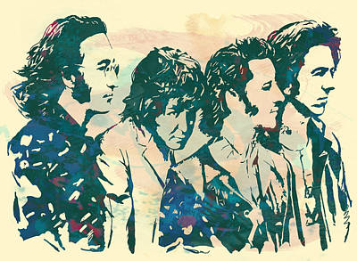 The Beatles - Stylised Pop Art Drawing Potrait Poser Art Print by Kim Wang