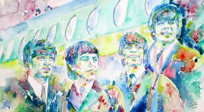 Fab Four Painting - The Beatles - Watercolor Portrait.3 by Fabrizio Cassetta