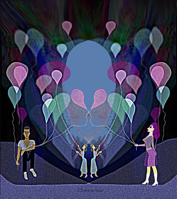 Digital Art - The Beautiful Balloons - 499 by Irmgard Schoendorf Welch