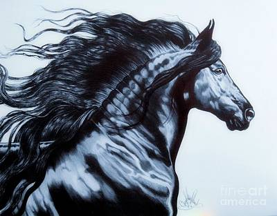 Drawing - Frederik The Great - Beautiful Friesian   by Cheryl Poland