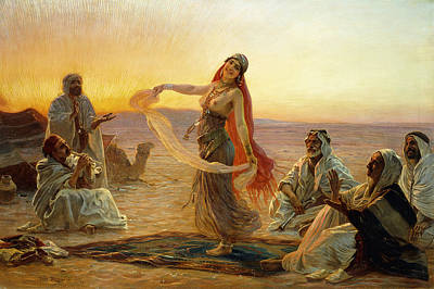 African Traditional Dances Painting - The Bedouin Dancer by Otto Pilny
