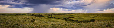 Photograph - The Beginnings - Flint Hills Storm Pano by Scott Bean