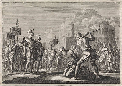 The Beheading Of Antigonus Ordered By Anthony Art Print by Jan Luyken And Pieter Mortier