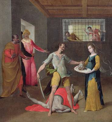 The Beheading Of St. John The Baptist Oil On Canvas Art Print by Italian School