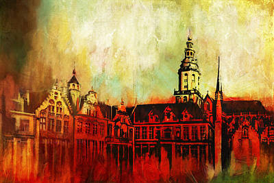 Chartre Painting - The Belfries Of Belgium And France  by Catf