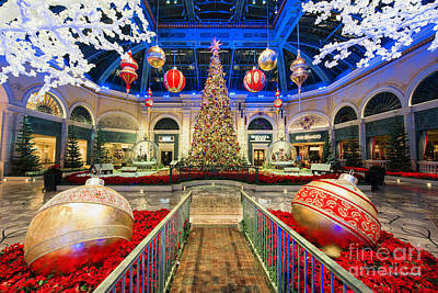 Photograph - The Bellagio Christmas Tree And Decorations by Aloha Art