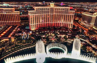 Photograph - The Bellagio Fountains by Eddie Yerkish