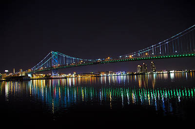 Phillies Digital Art - The Ben Franklin Bridge At Night by Bill Cannon