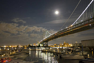 The Ben Franklin Bridge At Night Original