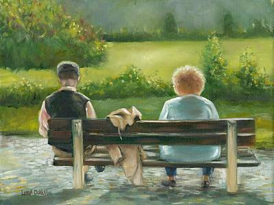 Park Painting - The Bench by Linda Dunbar