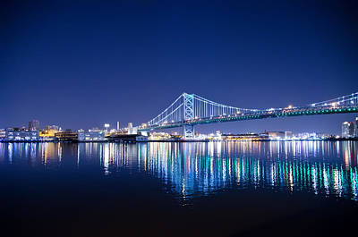 The Benjamin Franklin Bridge At Night Print by Bill Cannon
