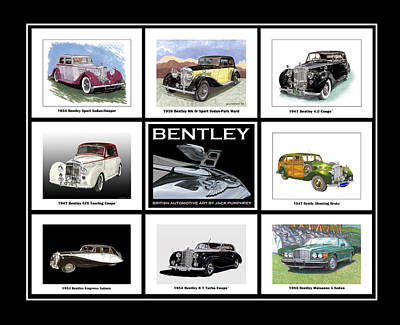 Poster Of Classic Bentleys Art Print