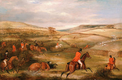 Berkeley Painting - The Berkeley Hunt, 1842 The Chase Signed And Dated by Litz Collection